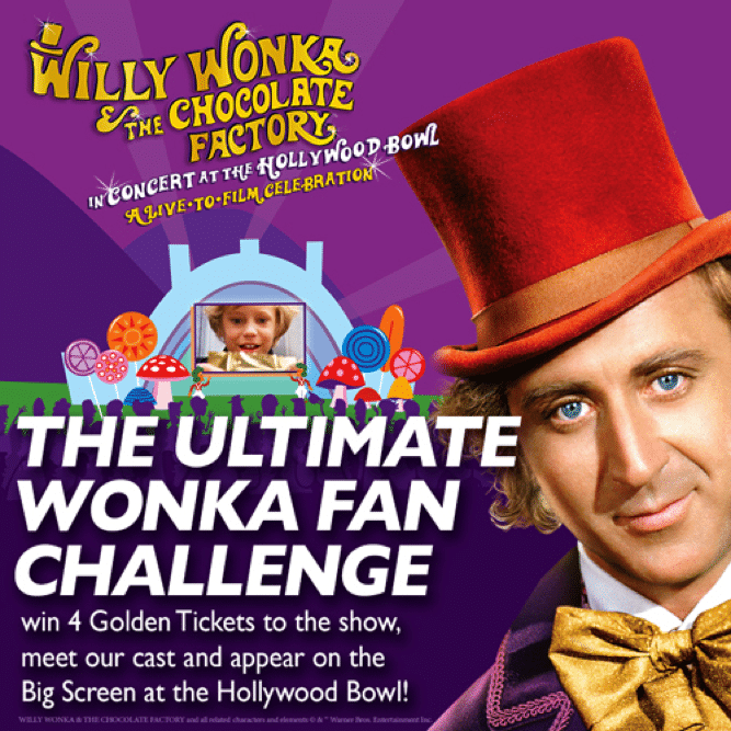 "Six lucky winners will win up to 4 tickets to see Willy Wonka and the Chocolate Factory Live-To-Film at the Hollywood Bowl! But that's not all, a few extra-lucky winners will also win a meet & greet with members of the cast! The show stars John Stamos, ""Weird Al"" Yankovic, Finn Wolfhard, Elle King, and more!"