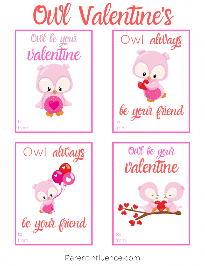 Free Printable Valentine's Day Cards for Kids Owls